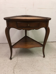 Cherry Leather Top Triangle Table