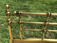 Wood Brass Finished Queen/Full Headboard