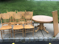 "48"" Round Oak Clawfoot Table w/ Leaf and 6 Pressback Chairs"