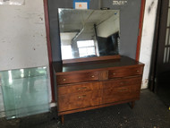 MCM Walnut 6 Drawer Dresser w/ Mirror