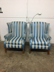 Pair of Blue Stripped Wingback Chairs