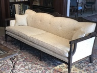 Vintage 7.5ft Wood Sofa Reupholstered and Refinished