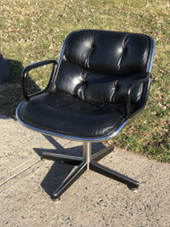 Vintage Charles Pollock for Knoll Executive Arm Chair in Black Leather