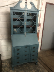Antique Blue Painted Secretary