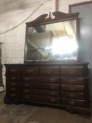 Solid Cherry 8 Drawer Dresser w/ Mirror