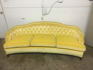 7ft Yellow Velvet Tufted Curved Sofa