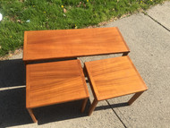 3pc Mid Century Teak Living Room Table Set Made in Denmark