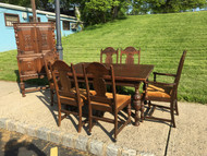 7pc Antique Oak Dining Set, China, Table, 6 Chairs