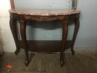 Cherry French Marble Top Hall Table