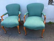 Pair of Teal French Provincial Arm Chairs