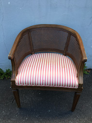 Caned Back Barrel Chair