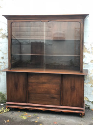 Vintage Modern Walnut China Cabinet w/ Sliding Glass Doors