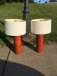 Pair of Orange Ceramic Lamps