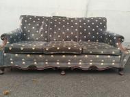 Antique Dark Blue Velvet Sofa