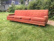 8ft Mid Century Modern Walnut Sofa