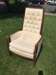 Tan Tufted High Back Arm Chair