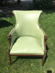 Mahogany Framed Green Wingback Chair