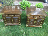 Pair of Brass Accented Nightstands / End Tables