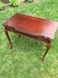 Antique Mahogany Flip Top Expanding Console Table