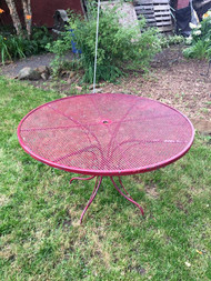 "48"" Red Wrought Iron Table"