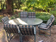 Green Oval Glass Patio Table w/ 6 Chairs