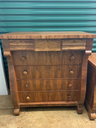 Antique Empire Tall 7 Drawer Walnut Dresser