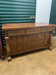 Antique Empire Long 5 Drawer Walnut Dresser
