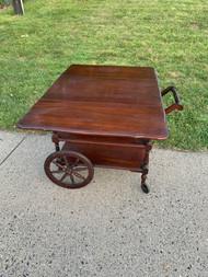Solid Cherry Bar Serving Cart