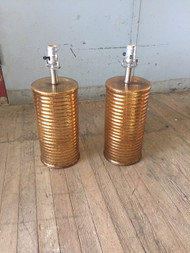 Pair of  Vintage Gold Glass Lamps