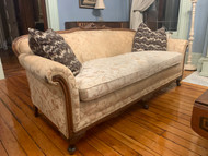 Antique 7ft Cream Upholstered Sofa