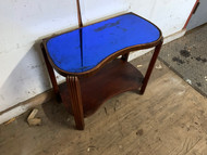 Antique Art Deco Blue Mirrored Side Table