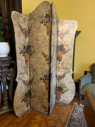 7ft Antique Handpainted Folding Screen