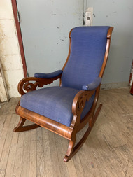 Antique Walnut Rocking Chair with Blue Cushions