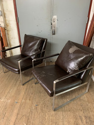 Pair of Steel Framed Modern Arm Chairs