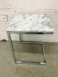 Modern Chrome Marble Side Table