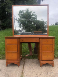 Blonde Art Deco vanity and mirror