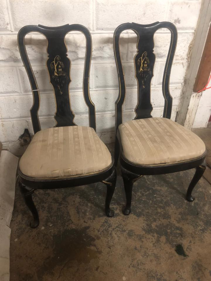 Pair Of Vintage Asian Queen Anne Black Dining Chairs Forgotten Furniture