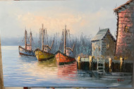 W jones oil on canvas Boats