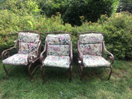 3 patio chairs with cushions