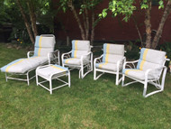 5 piece mid century patio set with cushions