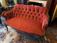 Tufted Red French settee