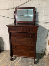 Empire mahogany 6 drawer dresser with tilt mirror