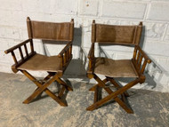 Pair rattan director chairs