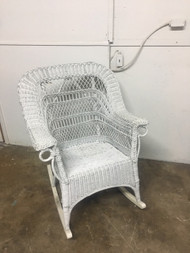 wide white wicker rocker