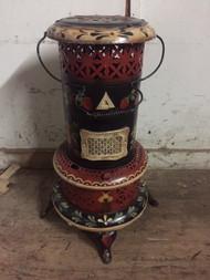 hand painted decorative antique kerosene heater