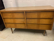 mid century modern walnut dresser 6 drawer