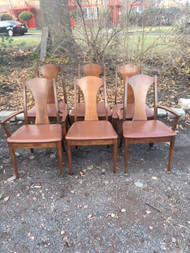 6 mid century modern walnut dining chairs with leather