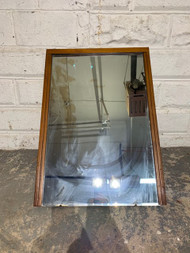 mid century modern light walnut mirror