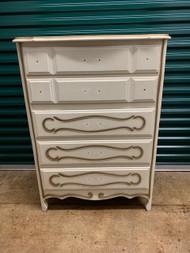 tall white 5 drawer french dresser