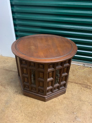 vintage round drum table